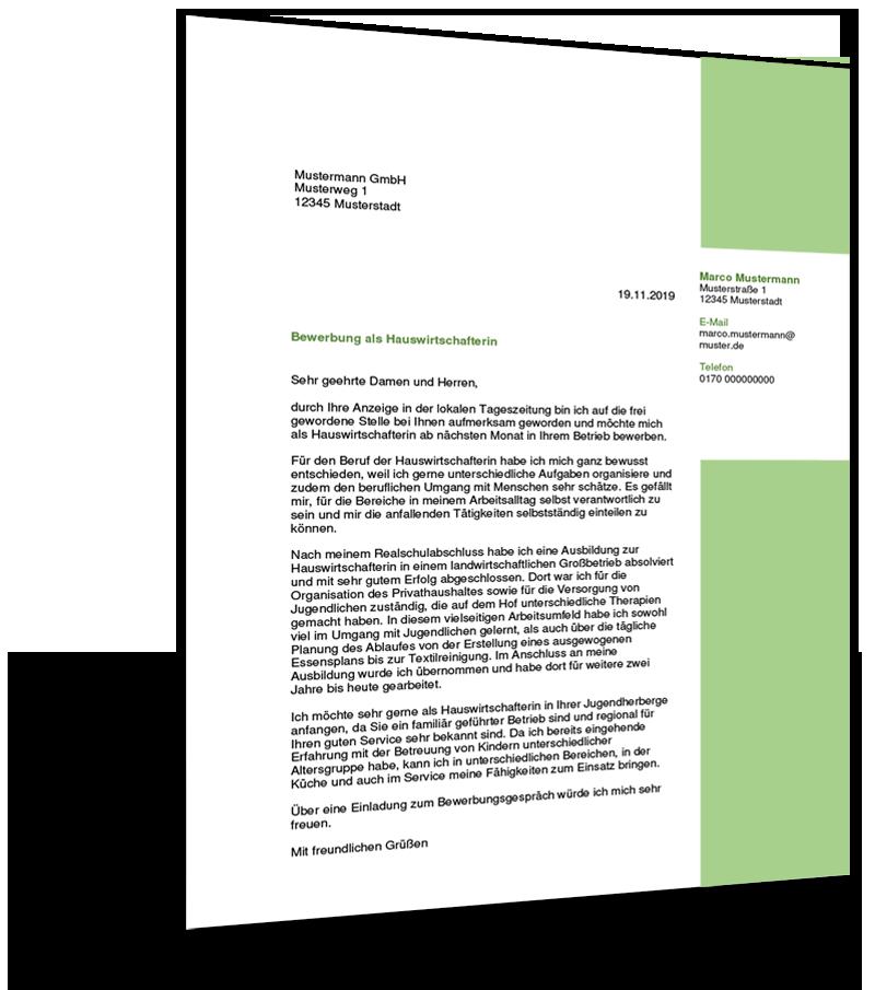 Bewerbung Muster Hauswirtschaft Lebenslauf Vorlagen